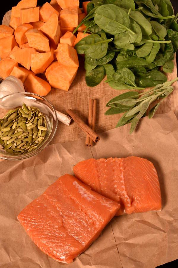 Pumpkin Seed Crusted Salmon with Sweet Potato Mash | WednesdayNightCafe.com