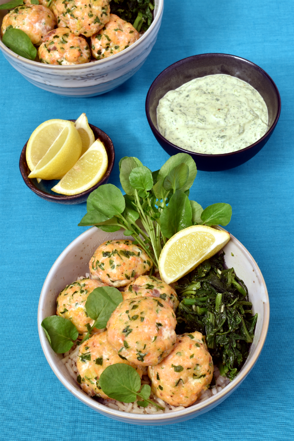 Salmon Meatballs with Herb Sauce