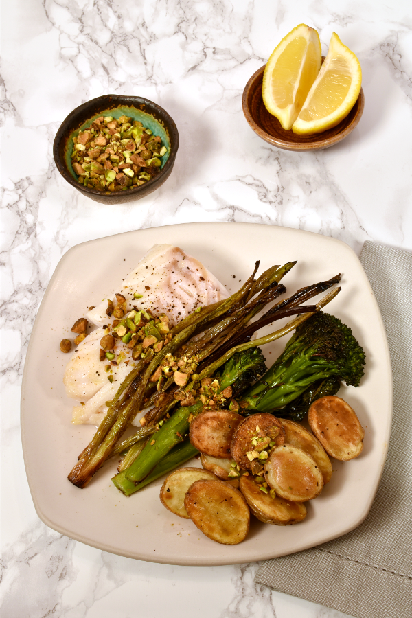 Cod with Roasted Green Onions and Pistachio