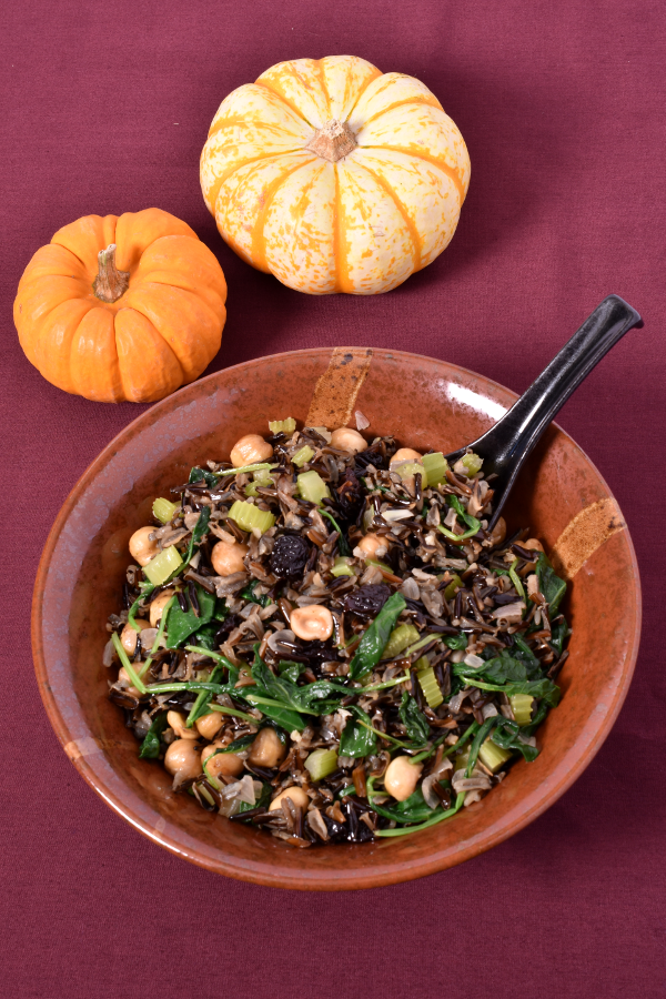 Fried Wild Rice with Hazelnuts and Kale