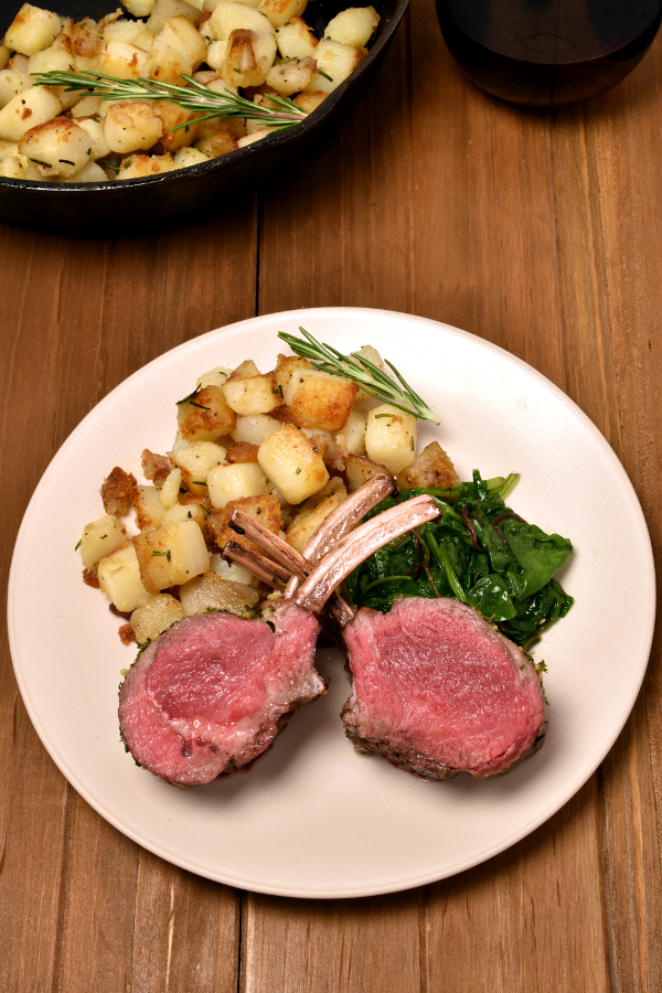 Roast Rack of Lamb with Rosemary Fried Potatoes