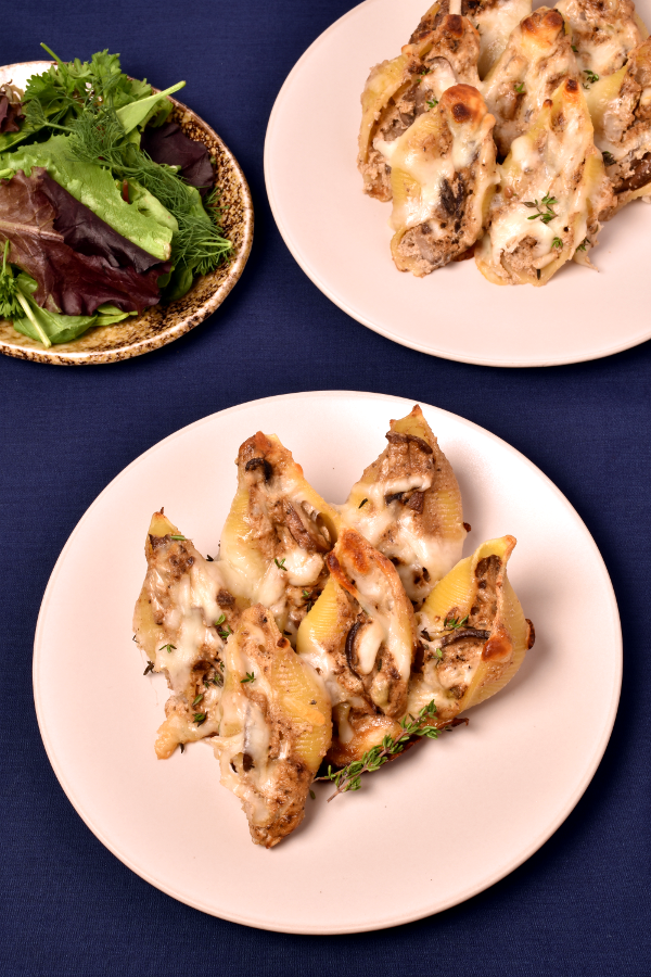 Three Mushroom Three Cheese Stuffed Shells | WednesdayNightCafe.com