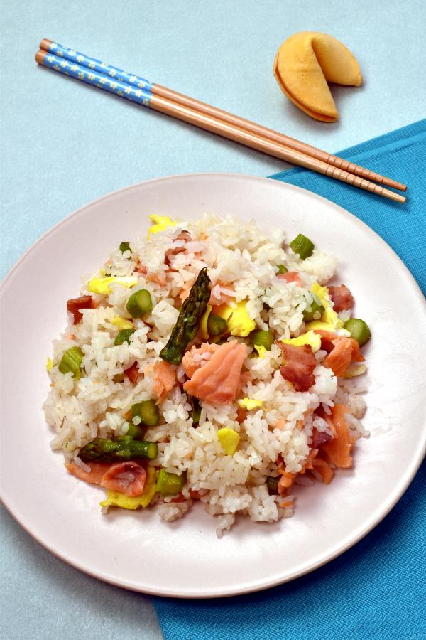 Smoked Salmon and Asparagus Fried Rice| WednesdayNightCafe.com
