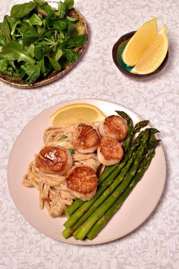 Scallops with Roast Asparagus and Creamy Pasta| WednesdayNightCafe.com