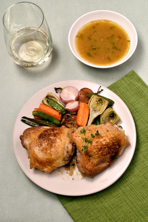 Crispy Skin Chicken Thighs with White Wine Pan Sauce and Roast Spring Vegetables