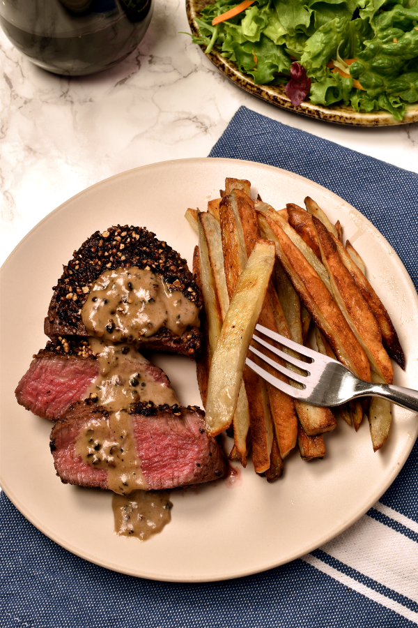 Steak au Poivre (Peppercorn-Crusted) with Oven Fries