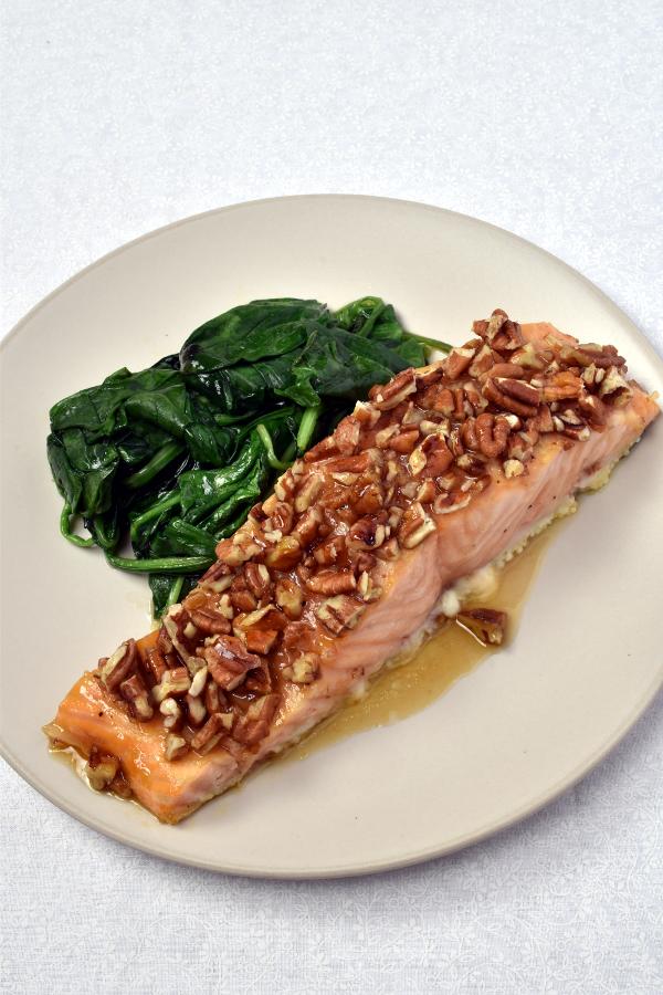 Maple Pecan Salmon with Individual Potato Gratins| WednesdayNightCafe.com