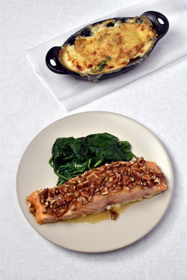 Maple Pecan Salmon with Individual Potato Gratins| WednesdayNightCafe.com
