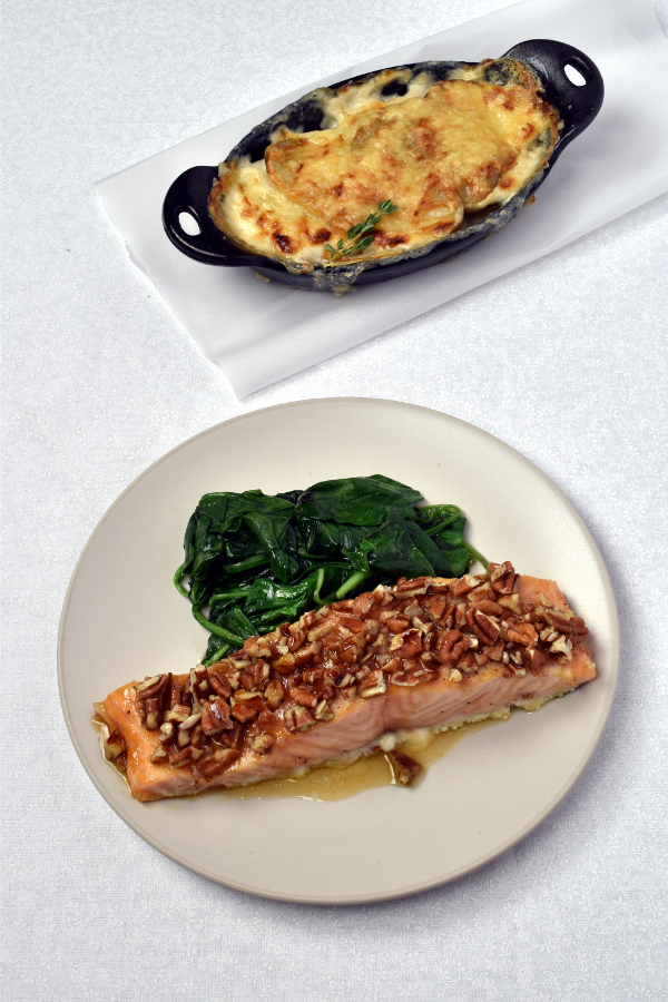 Maple Pecan Salmon with Individual Potato Gratins