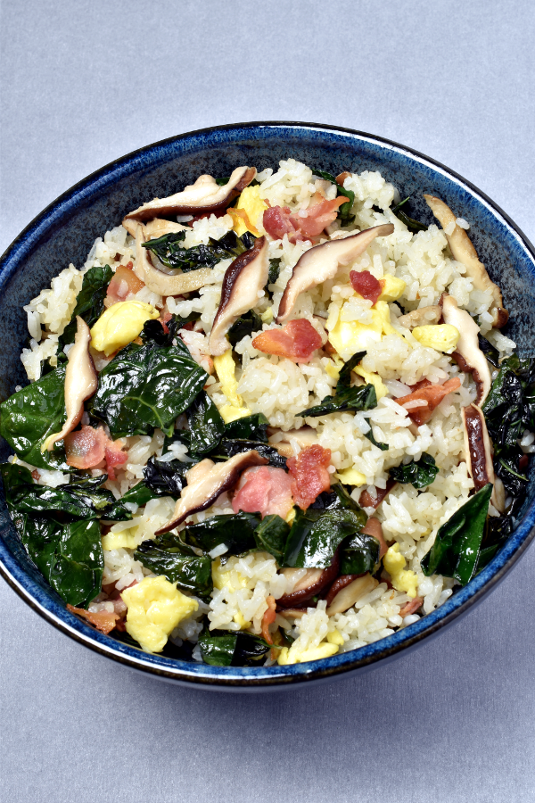 Bacon Mushroom Kale Fried Rice | WednesdayNightCafe.com