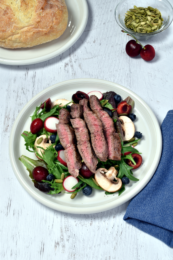 Steak Salad with Cherries and Blueberries