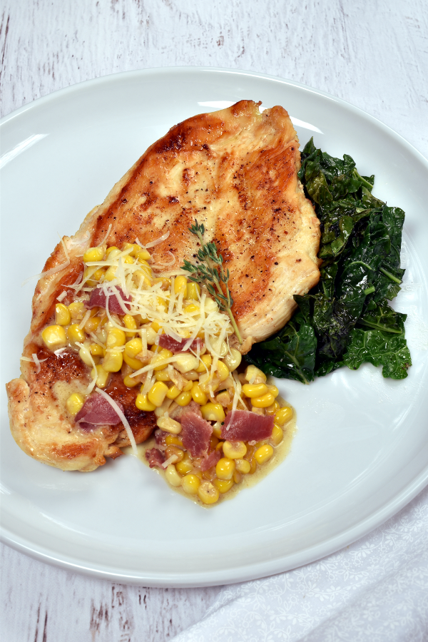 Chicken Breast with Creamy Corn and Bacon