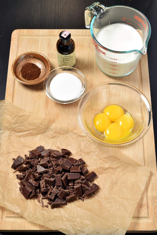 Dark Chocolate Pots de Crème (French Custard)| WednesdayNightCafe.com